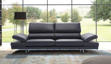 BRUNO designerska sofa skórzana na wysokich nogach