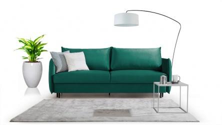 Ego sofa 3 osobowa rozkładana w zielonym velvecie.