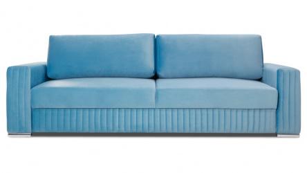 GLAMOUR sofa 3 osobowa rozkładana w niebieskim welwecie.