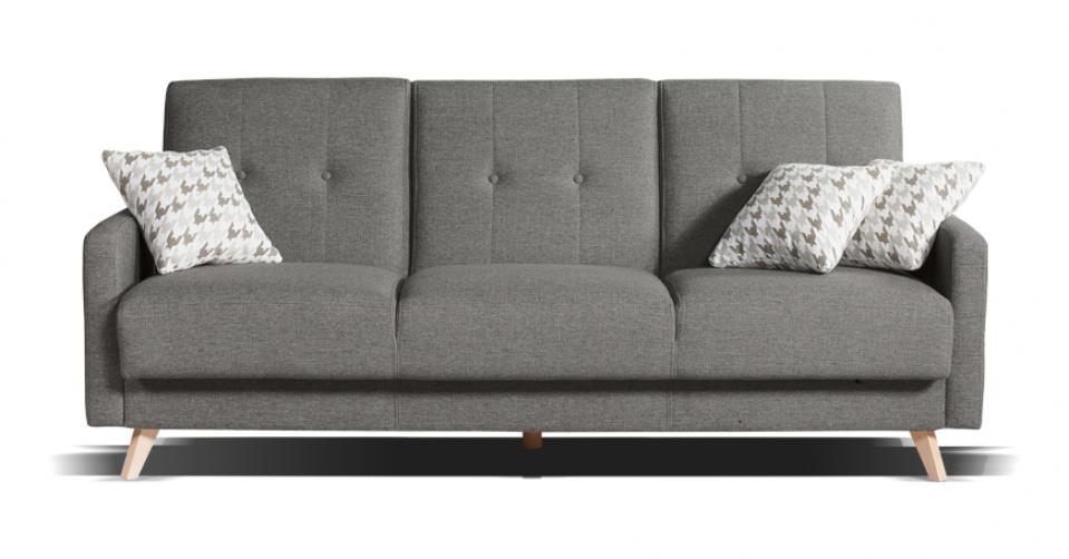 Sofa SCANDI 3 osobowa z funkcja spania w szarym kolorze.