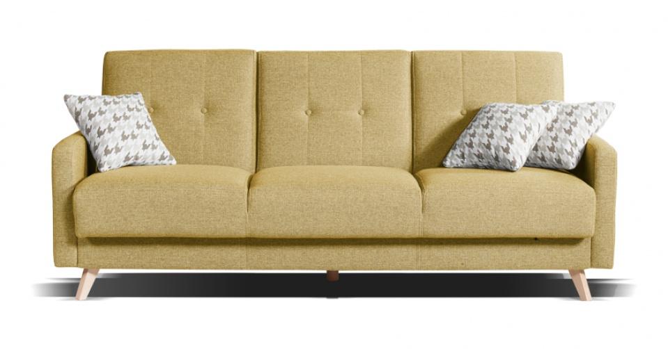 Sofa SCANDI 3 osobowa z funkcja spania w kolorze curry.