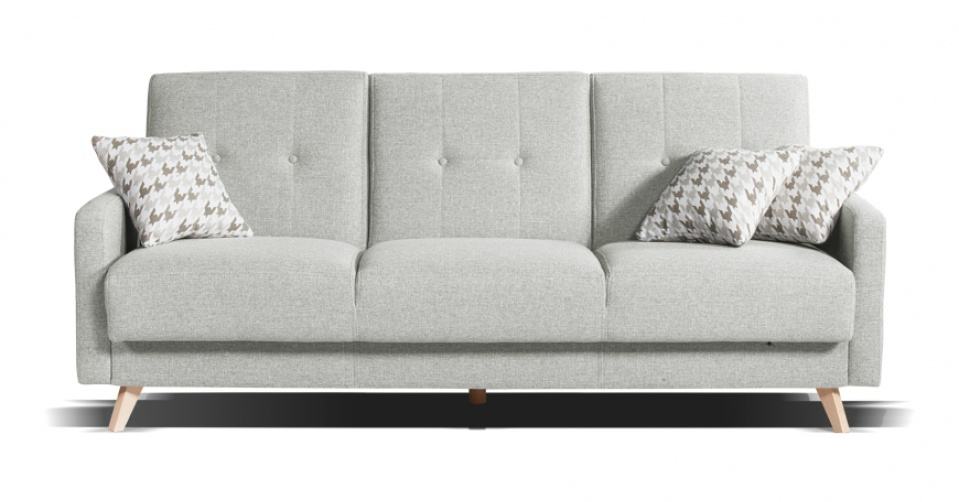 Sofa SCANDI 3 osobowa z funkcja spania w jasno szarym kolorze.