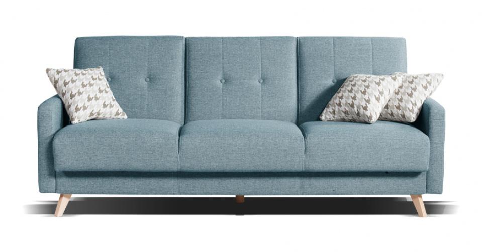 Sofa SCANDI 3 osobowa z funkcja spania w błękitnym kolorze.