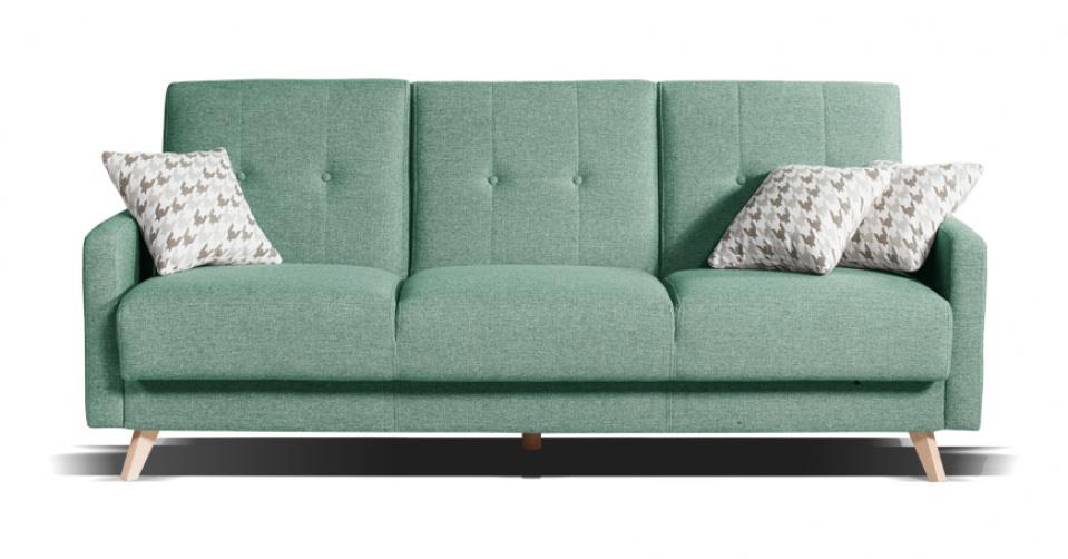 SCANDI sofa w jasno zielonym kolorze.
