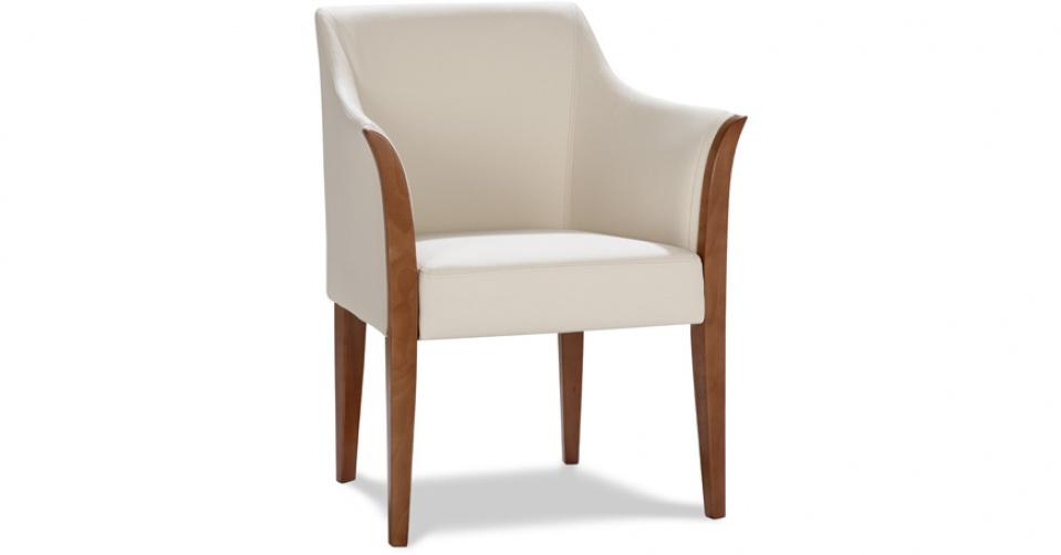 BARI fotel w skórze w kolorze ecru.