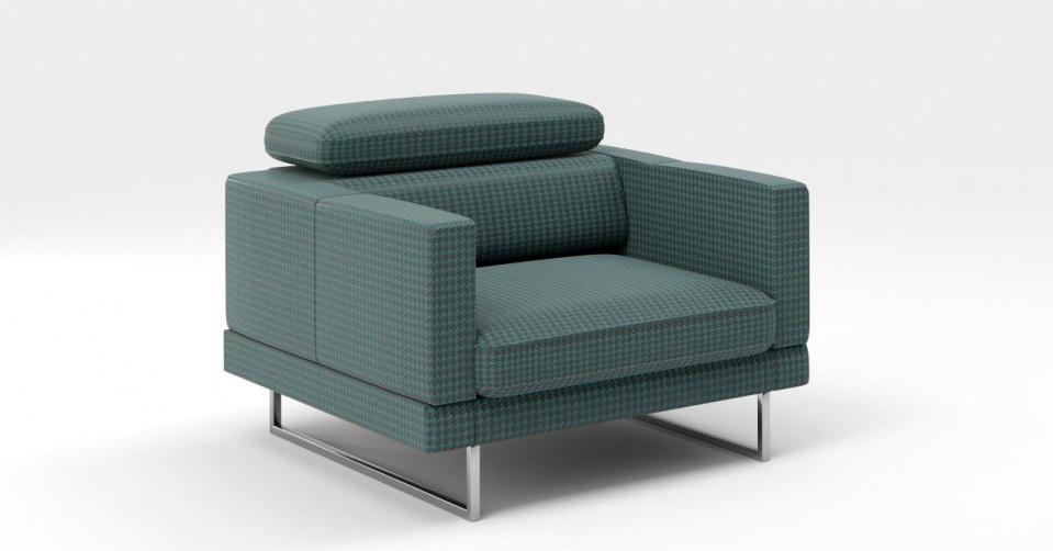 Fotel w wersji z prostym i wąskimi bokami.