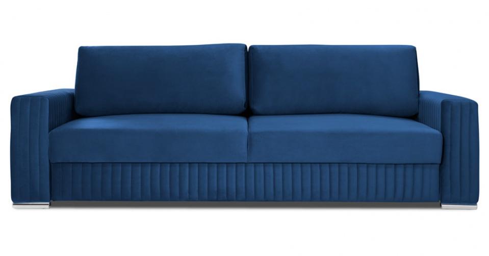 Glamour sofa 3 osobowa w modnym granatowym welwecie.