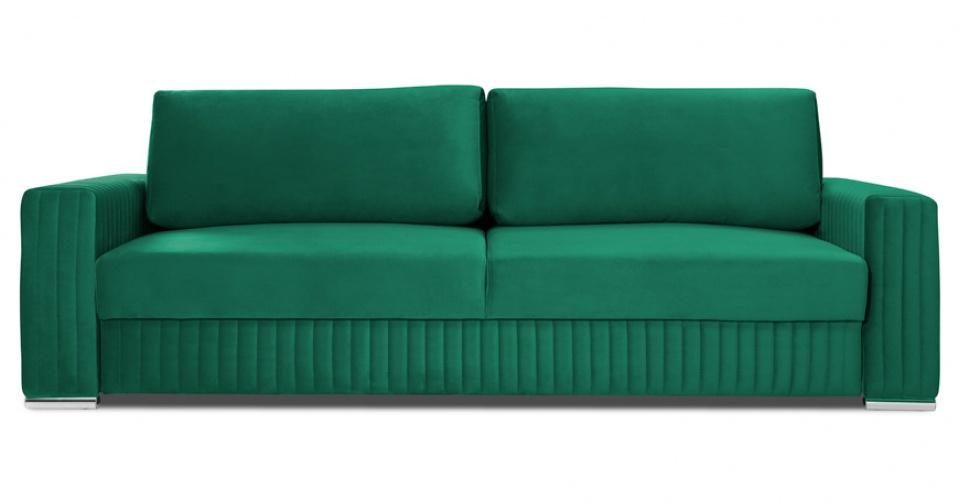 Glamour sofa 3 osobowa w modnym zielonym welwecie.