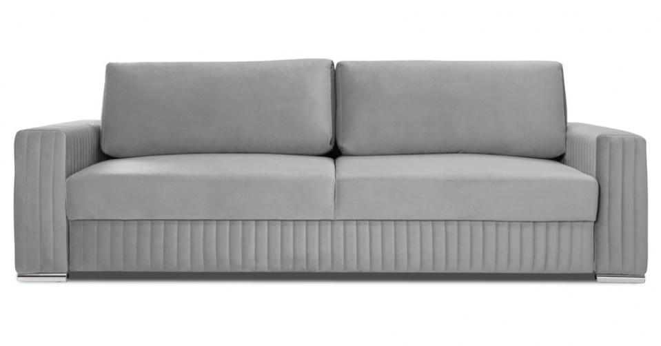 Sofa Glamour w szarym welwecie.