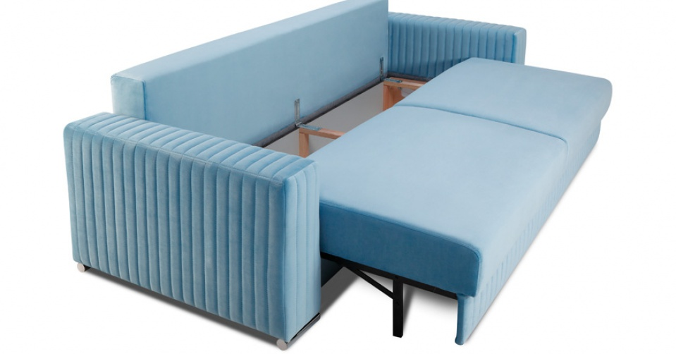 Sofa posiada system ułatwiający rozkładanie