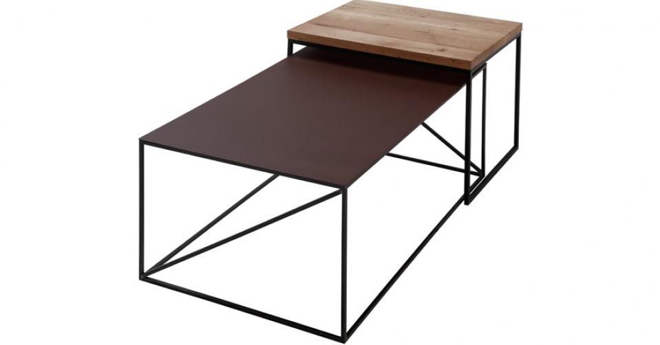 LOFT 9027 DUO kompozycja metalowego i dębowego stolika coffee.