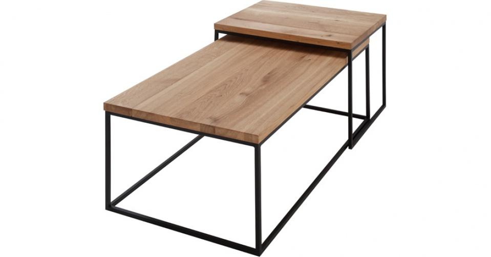 LOFT 7013 DUO designerski dębowy układ stolików kawowych.