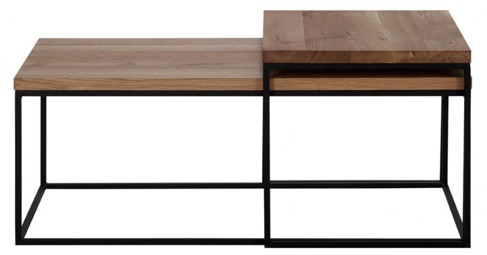 LOFT 7013 DUO modny układ stolików kawowych z naturalnego dębu.