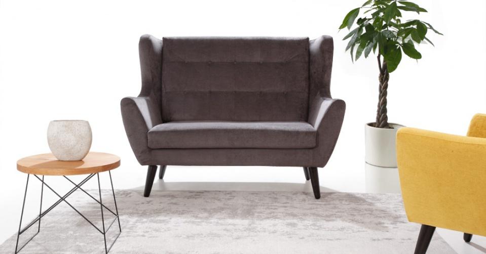 CLEO sofa 2 osobowa z fotelem i stolikiem Loft z naturalnego dębu.