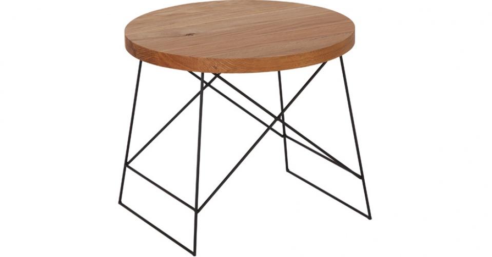 Designerski stolik kawowy LOFT 9020 z dębowym blatem.