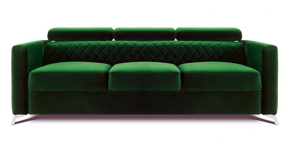 MENTOR sofa 3 osobowa w kolorze zielonej butelki.