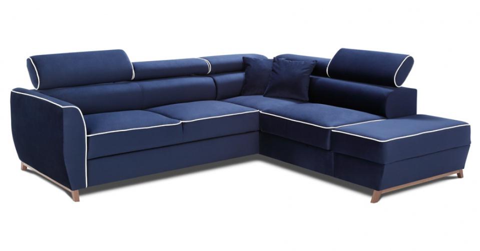 NOVEL komfortowy narożnik z funkcją spania w materiale plamoodpornym NAPOLI.