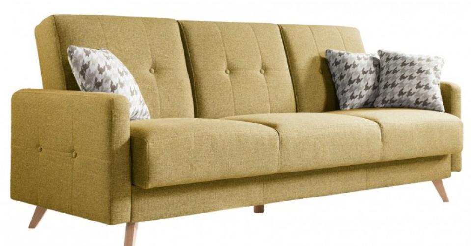 SCANDI sofa w żółtym kolorze.
