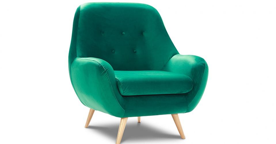 Fotel STILO z wysokim oparciem w modnym zielonym velvecie.