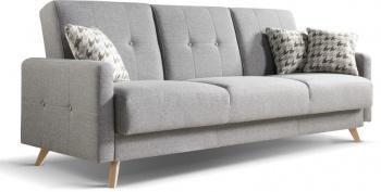 Sofa SCANDI to sofa w najmodniejszym ostatnio stylu nawiązującym do lat 60 tych. Stąd jej ozdobne przeszycia i guziki.