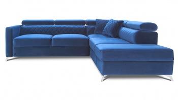 MENTOR komfortowy narożnik z funkcją spania w niebieskim welwecie.