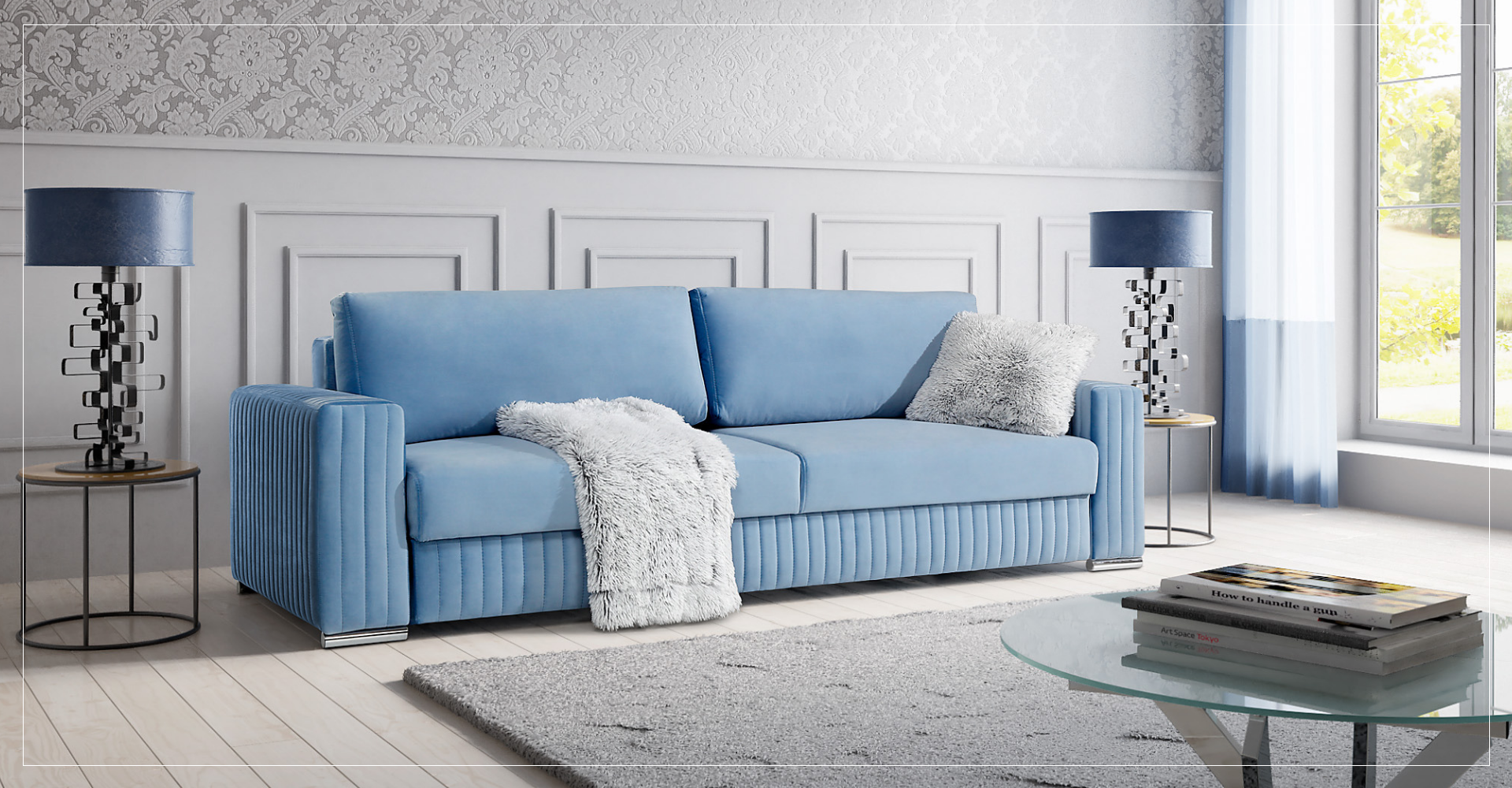 GLAMOUR komfortowa sofa z funkcją spania.